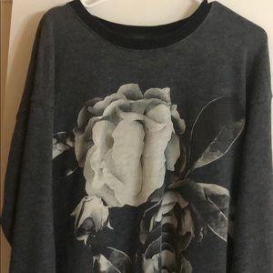 JCrew Flower Sweatshirt Medium M